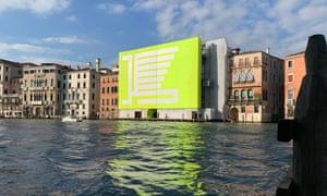 Hear me roar: Borsche's lime-green logo at the Venice Biennale.