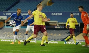 Dominic Calvert-Lewin of Everton (left) misses a chance to score.
