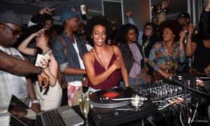 Solange Knowles spins at Boiler Room x W Do Not Disturb NYC at W Hotel Times Square, in New York.