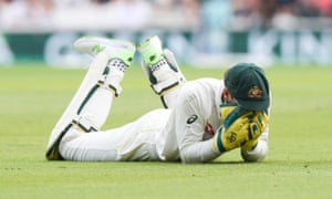 Tim Paine - Captain of Australia holds his head in disappointment after he drops England's Joe Root (Captain).