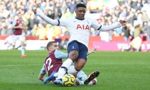 A tackle by Aston Villa's Björn Engels on Tottenham's Steven Bergwijn led to a penalty a long time after the incident.