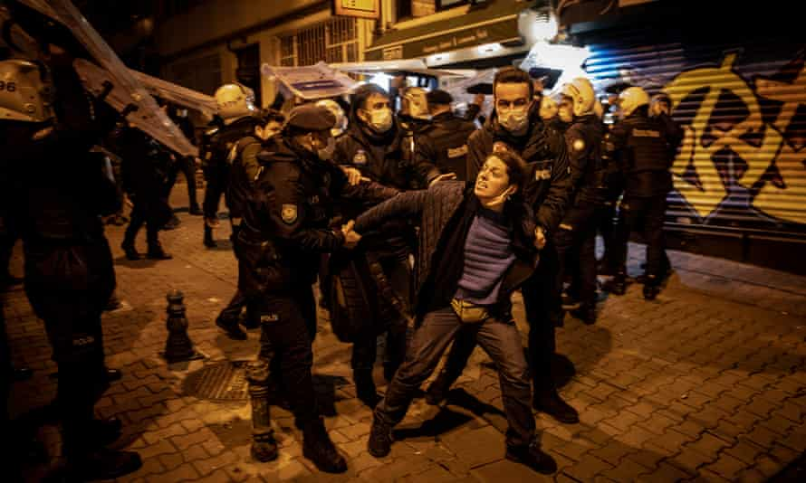 Police in Istanbul arrest a student protester