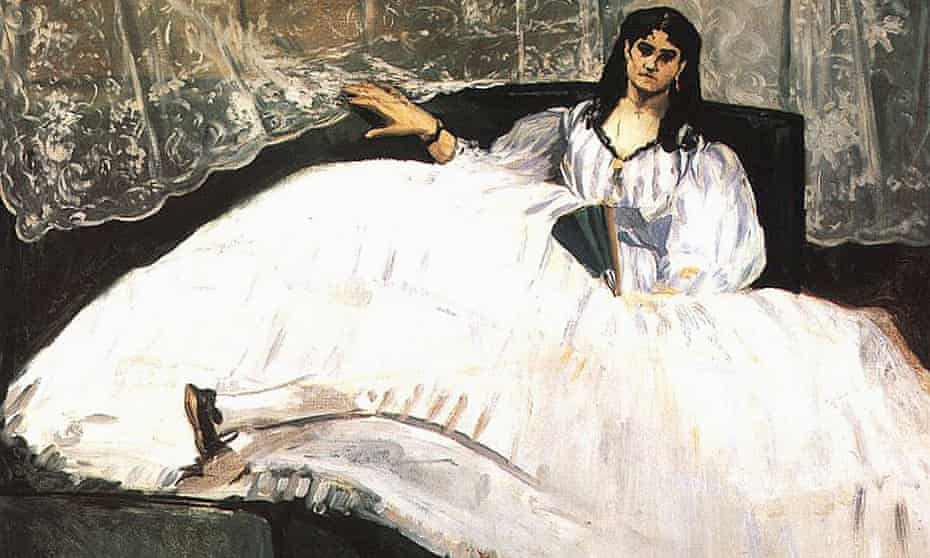 A detail from Edouard Manet's Portrait Jeanne Duval, 1862.