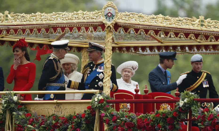 The Duke of Edinburgh, second from left, with members of the royal family during the diamond jubilee pageant on the River Thames, June 2012.