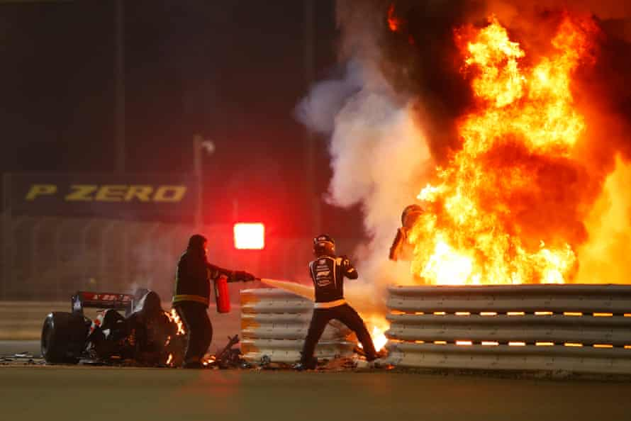 Romain Grosjean emerges from flames after a crash on the opening lap of the Bahrain Grand Prix on 29 November.