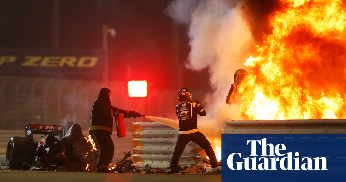 Romain Grosjeans life saved by halo after remarkable escape at Bahrain GP