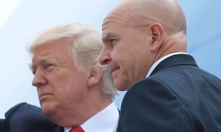 HR McMaster boards Air Force One with Donald Trump.