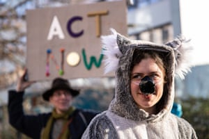 A protester dressed as a koala bear in front of the Australian embassy in Berlin, Germany