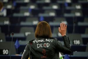 Strasbourg, France. The Hungarian MEP Lívia Járóka arrives at the EU parliament to attend a debate on the programme of the Finnish presidency of the EU