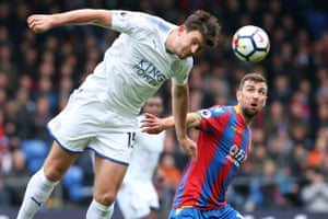 James McArthur of Crystal Palace looks on wide eyed as Harry Maguire of Leicester heads the ball as Palace win 5-0 at Selhurst Park.