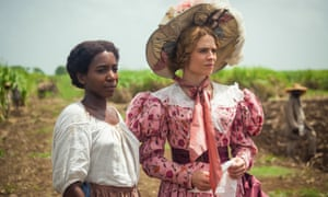 A scene from the 2018 TV adaptation of The Long Song, with Tamara Lawrance, left, as July and Hayley Atwell as Caroline.