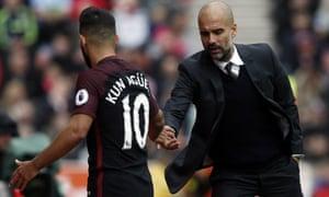 Manchester City's Sergio Agüero and Pep Guardiola