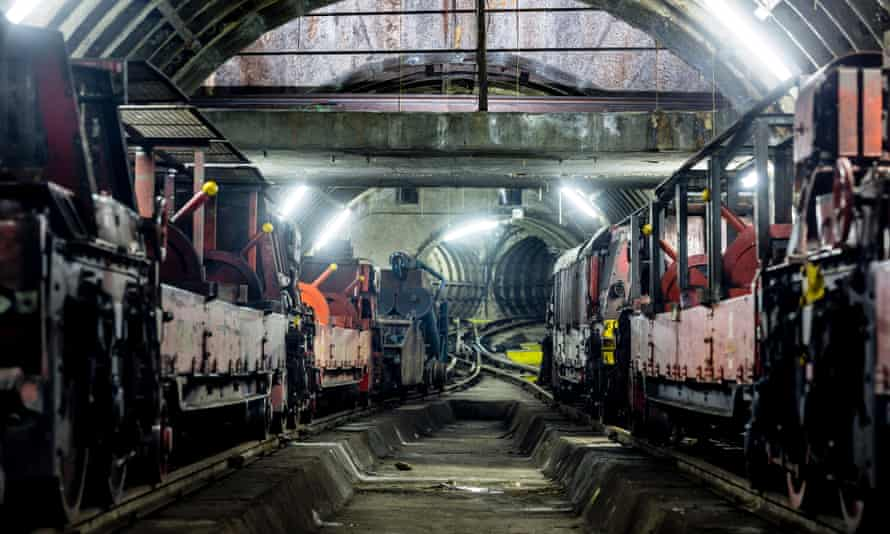 Shot of the undergroun Mail Rail, part of the new Postal Museum in London.
