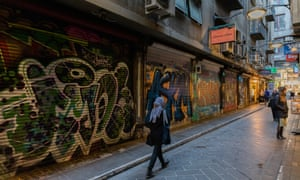 Closed cafes along the usual busy and popular Degraves Street Laneway in locked-down Melbourne.