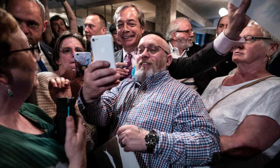 Farage and supporters at the Sugar Hut in Brentwood, Essex.