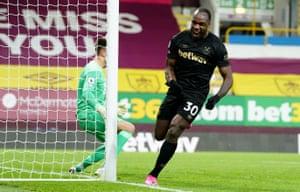 West Ham United's Michail Antonio celebrates scoring their second goal.