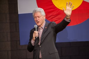 Bill Clinton campaigns for his wife Hillary in Colorado Springs.