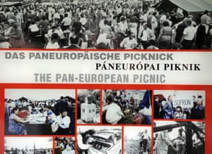 A display of photos from the pan-European picnic in 1989 formed part of an open-air exhibition at the Austrian-Hungarian border.