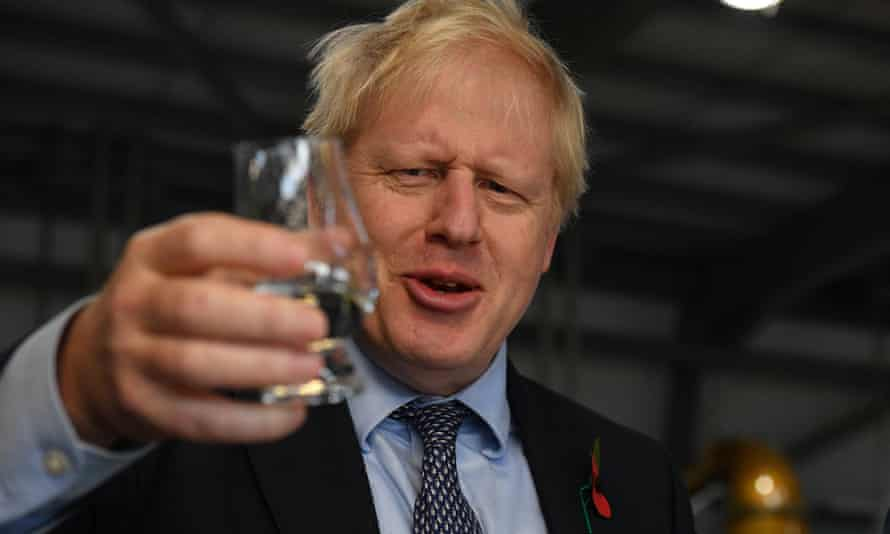 Boris Johnson during a campaign visit to Roseisle distillery