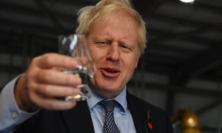 Boris Johnson during a campaign visit to Roseisle distillery