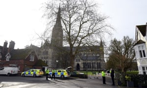 Police officers are on patrol in front of Salisbury Cathedral as Theresa May visits the city to mark the one-year anniversary of the novichok attack.