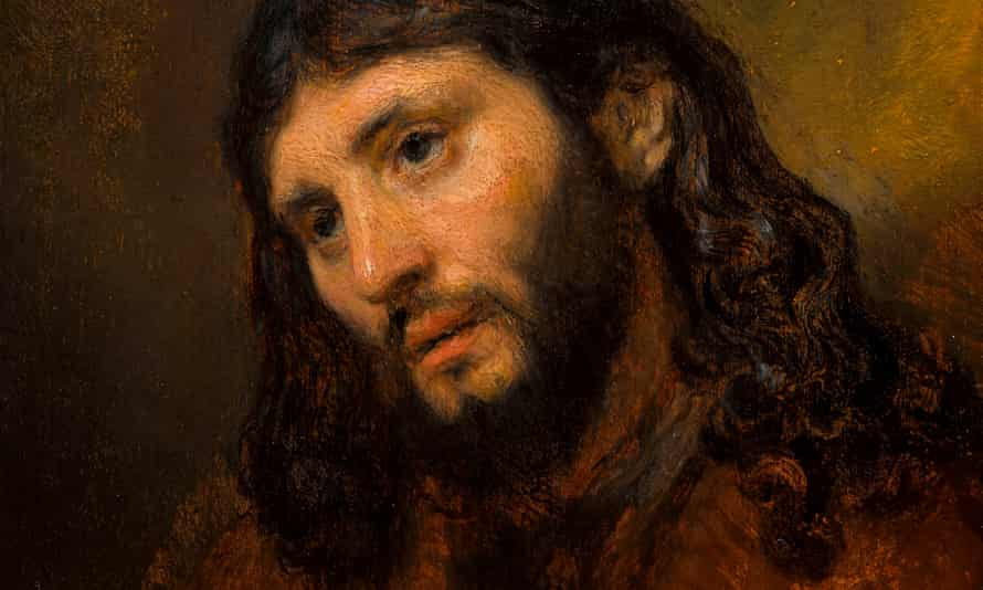 A detail from Rembrandt's rapidly painted Study of the Head and Clasped Hands of a Young Man as Christ in Prayer.