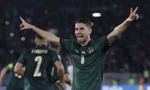 Jorginho celebrates giving Italy the lead against Greece from the penalty spot during the Euro 2020 qualifier.