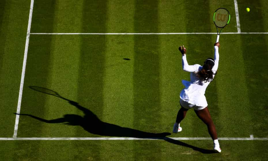 Serena Williams in action during her first-round match at Wimbledon. She is on court again on Wednesday