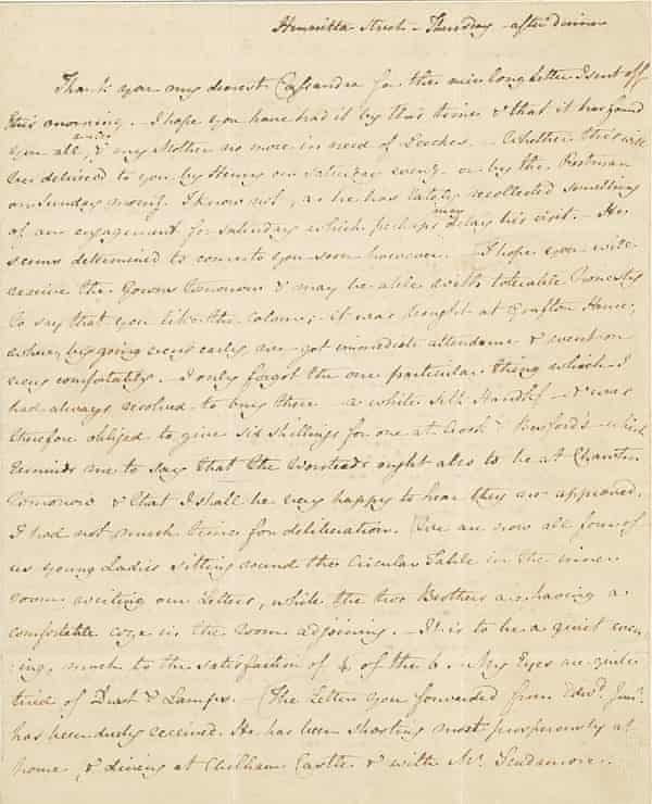 """AUSTEN, JANE. 1775-1817. Autograph Letter Signed (""""J. Austen""""), to her sister Cassandra, discussing their brother Edward's china from Wedgwood's, music lessons, the children's dentistry, and Mrs. Tilson's child-bearing among other intimate affairs, 4 pp, 4to (229 x 134 mm), bifolium, """"Thursday – after dinner,"""" [September 16, 1813], Henrietta St, endorsed [by Cassandra?] Henrietta St. Autumn. of 1813,"""" on laid paper watermarked 1810 (Heawood, nos 2752-62), window-mounted, closed tear to lower margin of fold, traces of red wax above address, and black wafer below. Provenance: bequeathed by Cassandra Austen to Fanny, Lady Knatchbull; by descent to Lord Brabourne, 1882; sold Sotheby's, London, his sale, May 14, 1891, lot 1101; sold Anderson Gallery, The Collection of Louis J. Haber, Part III, New York, December 9, 1909, lot 30; Cleveland H. Dodge; by descent."""