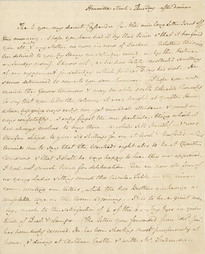 "AUSTEN, JANE. 1775-1817. Autograph Letter Signed (""J. Austen""), to her sister Cassandra, discussing their brother Edward's china from Wedgwood's, music lessons, the children's dentistry, and Mrs. Tilson's child-bearing among other intimate affairs, 4 pp, 4to (229 x 134 mm), bifolium, ""Thursday – after dinner,"" [September 16, 1813], Henrietta St, endorsed [by Cassandra?] Henrietta St. Autumn. of 1813,"" on laid paper watermarked 1810 (Heawood, nos 2752-62), window-mounted, closed tear to lower margin of fold, traces of red wax above address, and black wafer below. Provenance: bequeathed by Cassandra Austen to Fanny, Lady Knatchbull; by descent to Lord Brabourne, 1882; sold Sotheby's, London, his sale, May 14, 1891, lot 1101; sold Anderson Gallery, The Collection of Louis J. Haber, Part III, New York, December 9, 1909, lot 30; Cleveland H. Dodge; by descent."