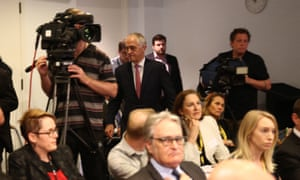 Malcolm Turnbull leaves via the back of a press conference, leaving health minister Sussan Ley, Allan Fels and Ian Hickie.