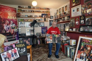 Abba 'fan and obsessive' Clive Roe with some of his memorabilia.