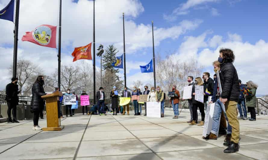 Students, transgender people and supporters gather in front of the state capitol in Helena, Montana, on 19 April to protest a bill targeting transgender student athletes.