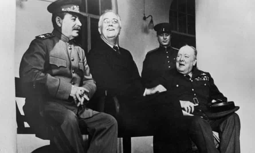 Stalin, Roosevelt and Churchill at the Teheran conference during the second world war. Churchill once opened his door naked to Roosevelt, saying: 'You see, Mr President, I have nothing to hide.'