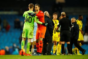 216ff8c2d Manchester City s keeper Arijanet Muric commiserates with Bradley Collins