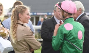 Trainer of Makambe, Chelsea Banham, left, with her jockey, and partner, Joey Haynes at Yarmouth.
