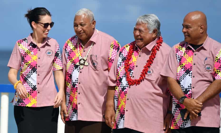Jacinda Ardern pictured at August's Pacific Islands Forum with Fiji's prime minister, Frank Bainimarama, Samoa's prime minister, Tuilaepa Aiono Sailele Malielegaoi, Federated States of Micronesia's president, David W Panuelo.