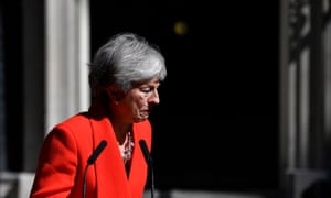 Theresa May announces her resignation in Downing Street on Friday.