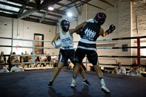 Two women box as part of the For Film's Sake festival Fight Night in Sydney's Waterloo