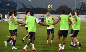 Arsenal's players during a winter break training session in Dubai