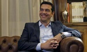 Greek PM Alexis Tsipras, as he tenders his resignation topPresident Prokopis Pavlopoulios tonight.