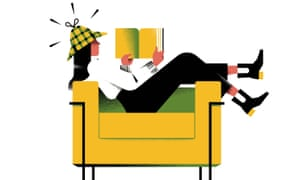 Illustration of woman in deerstalker hat reading book.