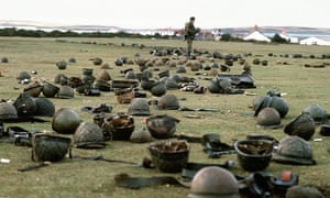 Steel helmets abandoned by Argentinian soldiers at Goose Green.