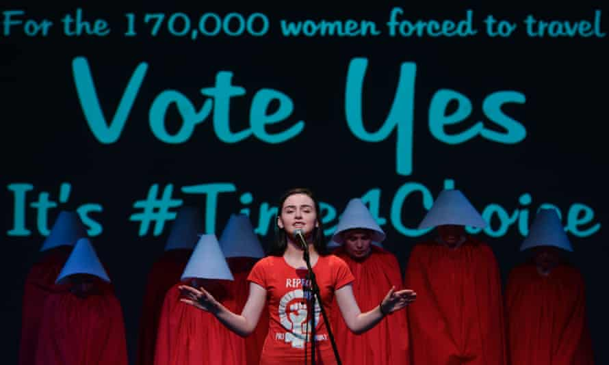 Rally for Equality, Freedom and Choice activists dress as 'Handmaids' during a rally in Dublin last month