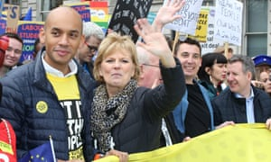 Independent Group MPs Chuka Umunna, Anna Soubry, Mike Gapes, Chris Leslie and Gavin Shuker of at the Put It To The People March on 23 March 2019 in London.