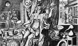 16th century art work depicting a woman mixing medicinal drugs.