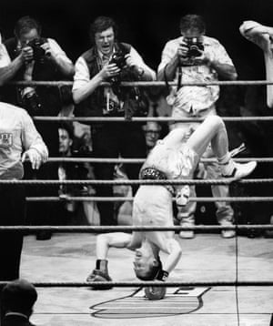 Terry Marsh summersaults after defending his IBF Light Welterweight World Title against Japan's Akio Kameda in July 1987.