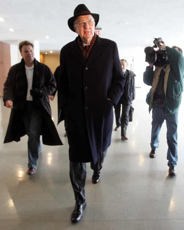 Paul Volcker leaving the the United Nations headquarters in New York as head of the independent inquiry committee investigating the UN Oil for Food scheme in Iraq, 2005.