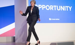 Theresa May danced her way on to the Conservative party conference stage.