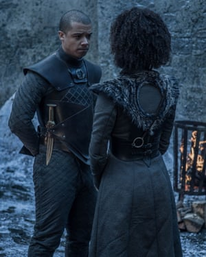Looking for a warmer future ... Grey Worm (Jacob Anderson) and Missandei (Nathalie Emmanuel).